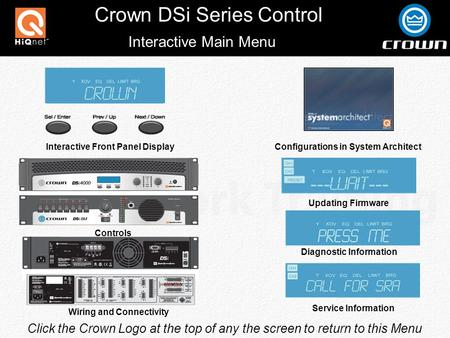 Crown DSi Series Control Click the Crown Logo at the top of any the screen to return to this Menu Interactive Main Menu Interactive Front Panel Display.