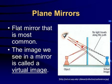 Plane Mirrors Flat mirror that is most common. The image we see in a mirror is called a virtual image. [http://sol.sci.uop.edu/~jfalward/reflection/castlemirror.jpg]