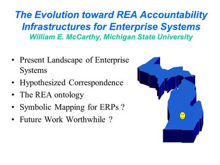 The Evolution toward REA Accountability Infrastructures for Enterprise Systems William E. McCarthy, Michigan State University Present Landscape of Enterprise.