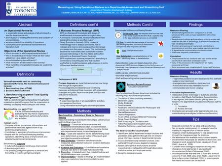 Measuring up: Using Operational Reviews as a Departmental Assessment and Streamlining Tool University of Toronto Scarborough Library Elizabeth O'Brien,