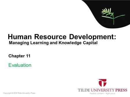 Managing Learning and Knowledge Capital Human Resource Development: Chapter 11 Evaluation Copyright © 2010 Tilde University Press.