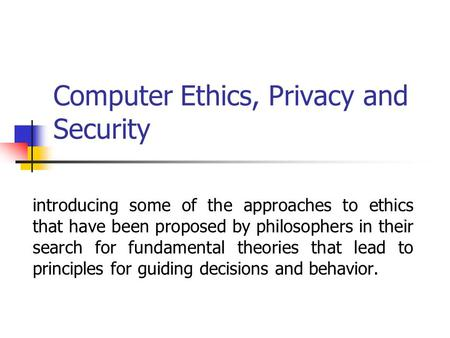 computer ethics privacy