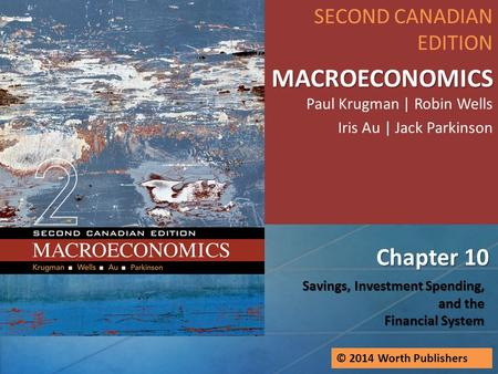 Savings, Investment Spending, and the Financial System Chapter 10 SECOND CANADIAN EDITION MACROECONOMICS MACROECONOMICS Paul Krugman | Robin Wells Iris.