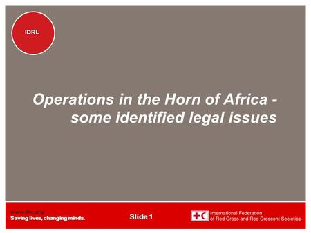 Www.ifrc.org Saving lives, changing minds. IDRL Slide 1 IDRL Operations in the Horn of Africa - some identified legal issues.