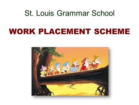 St. Louis Grammar School WORK PLACEMENT SCHEME What is Work Placement ? Two types : Work Experience : hands-on experience at the discretion of the employer.