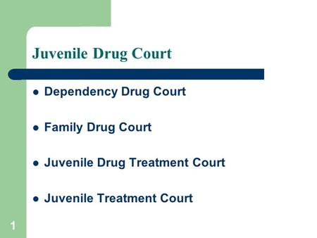 1 Juvenile Drug Court Dependency Drug Court Family Drug Court Juvenile Drug Treatment Court Juvenile Treatment Court.