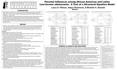 Parental Influences among African American and Latino Low-income adolescents: A Test of a Structural Equation Model Laura D. Pittman, Adeya Richmond, &