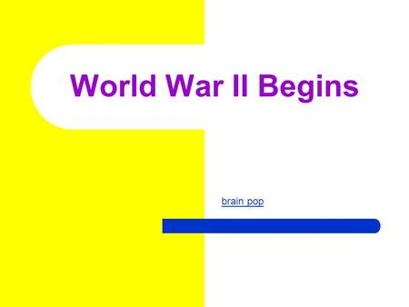World War II Begins brain pop. Elected 1932 Served until 1945 Franklin Delano Roosevelt US President.