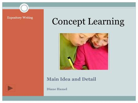 Concept Learning Main Idea and Detail Diane Hamel Expository Writing.