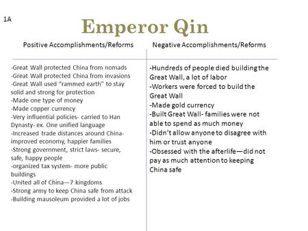 Emperor Qin Positive Accomplishments/ReformsNegative Accomplishments/Reforms -Great Wall protected China from nomads -Great Wall protected China from invasions.