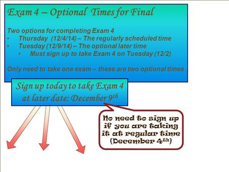 Exam 4 – Optional Times for Final Two options for completing Exam 4 Thursday (12/4/14) – The regularly scheduled time Tuesday (12/9/14) – The optional.