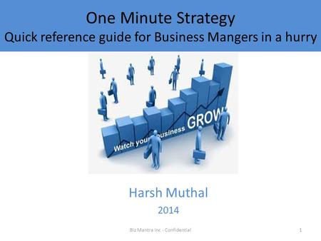 One Minute Strategy Quick reference guide for Business Mangers in a hurry Harsh Muthal 2014 1Biz Mantra Inc - Confidential.