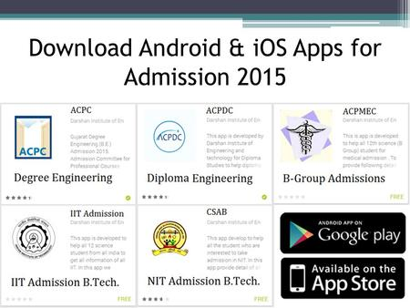 Download Android & iOS Apps for Admission 2015. ACPC, IIT & NIT Engineering Admission 2014 Nilesh Gambhava 98255 63616.