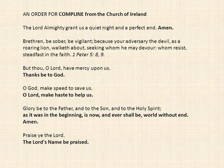 AN ORDER FOR COMPLINE from the Church of Ireland