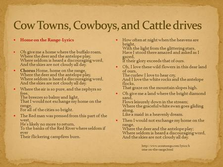 Cow Towns, Cowboys, and Cattle drives