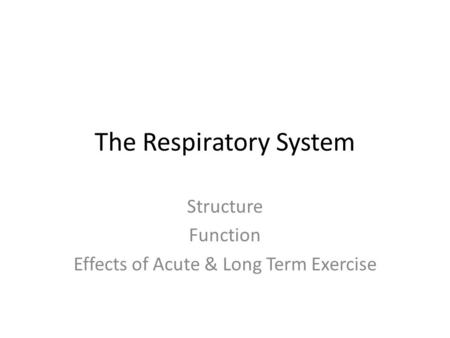 The Respiratory System Structure Function Effects of Acute & Long Term Exercise.