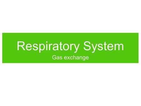 Respiratory System Gas exchange.