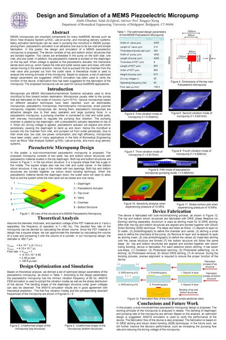 Design and Simulation of a MEMS Piezoelectric Micropump Alarbi Elhashmi, Salah Al-Zghoul, Advisor: Prof. Xingguo Xiong Department of Biomedical Engineering,