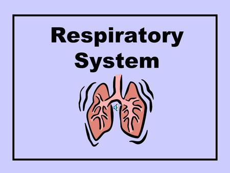 Respiratory System Respiration The energy releasing process that is fueled by oxygen.