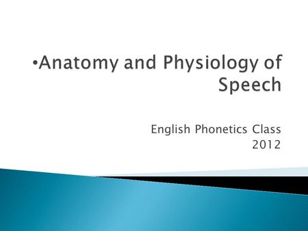 English Phonetics Class 2012. THE VOCAL ORGANS The principal organs which take part in the production of speech sound are: 1.Lungs 2.Mouth 3.Throat.