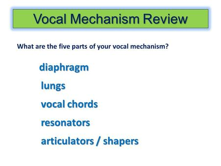 Vocal Mechanism Review What are the five parts of your vocal mechanism? diaphragm lungs vocal chords resonators articulators / shapers.