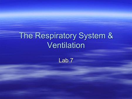 The Respiratory System & Ventilation Lab 7. Lab 7 Activities  Biopac L08-Respiratory Cycle 1: pneumography  PhysioEx Respiratory System Mechanics (computer.