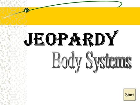 Jeopardy Start Final Jeopardy Question Circulatory System Respiratory System Excretory System Immune System General Systems 10 20 30 40.