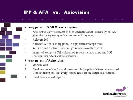 IPP & AFA vs. Axiovision Strong points of Cell Observer system: Zeiss name, Zeiss's success in high-end application, especially in LSM, gives them very.