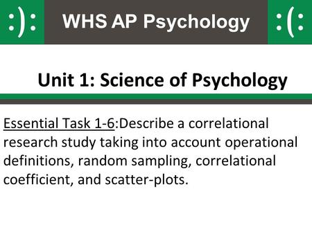 WHS AP Psychology Unit 1: Science of Psychology Essential Task 1-6:Describe a correlational research study taking into account operational definitions,