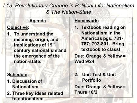 L13: Revolutionary Change in Political Life: Nationalism & The Nation-State Agenda Objective: 1.To understand the meaning, origin, and implications of.