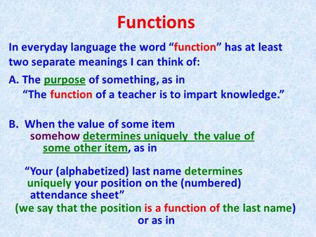 "Functions In everyday language the word ""function"" has at least two separate meanings I can think of: A. The purpose of something, as in ""The function."
