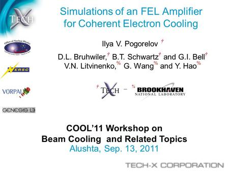 COOL'11 Workshop on Beam Cooling and Related Topics Alushta, Sep. 13, 2011 Simulations of an FEL Amplifier for Coherent Electron Cooling Ilya V. Pogorelov.