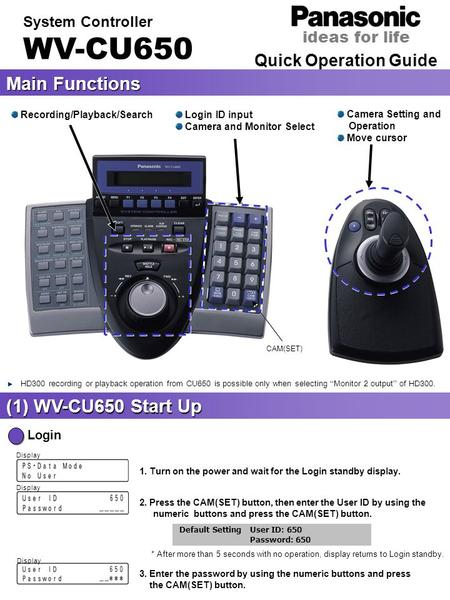 Quick Operation Guide System Controller WV-CU650 Main Functions (1) WV-CU650 Start Up Login 1. Turn on the power and wait for the Login standby display.