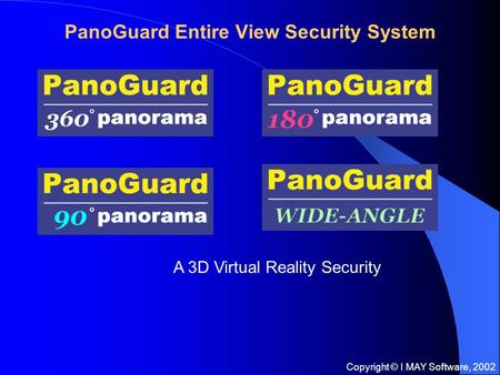Copyright © I MAY Software, 2002 PanoGuard Entire View Security System A 3D Virtual Reality Security.