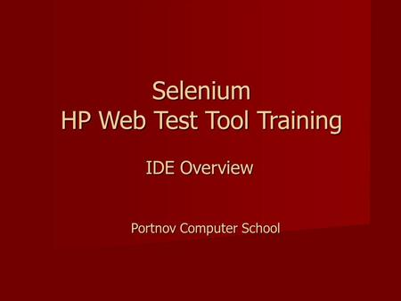 Selenium HP Web Test Tool Training