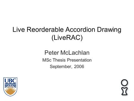 Live Reorderable Accordion Drawing (LiveRAC) Peter McLachlan MSc Thesis Presentation September, 2006.