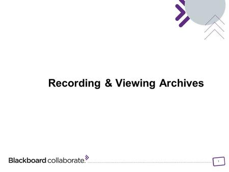 1 Recording & Viewing Archives. 2 Objectives: Identify the steps for starting, pausing and stopping the session recorder Identify the visual and auditory.