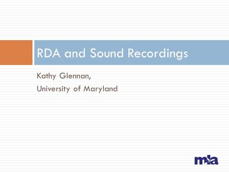 RDA and Sound Recordings