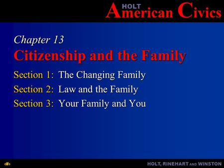 A merican C ivicsHOLT HOLT, RINEHART AND WINSTON1 Chapter 13 Citizenship and the Family Section 1:The Changing Family Section 2:Law and the Family Section.