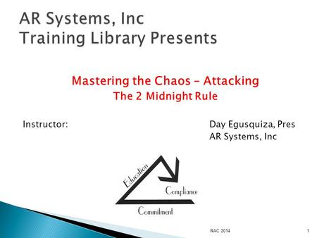 Mastering the Chaos – Attacking The 2 Midnight Rule Instructor:Day Egusquiza, Pres AR Systems, Inc RAC 20141.