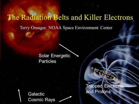 Galactic Cosmic Rays Trapped Electrons and Protons The Radiation Belts and Killer Electrons Terry Onsager, NOAA Space Environment Center Solar Energetic.