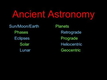 Ancient Astronomy Sun/Moon/Earth Phases Eclipses Solar Lunar Planets Retrograde Prograde Heliocentric Geocentric.