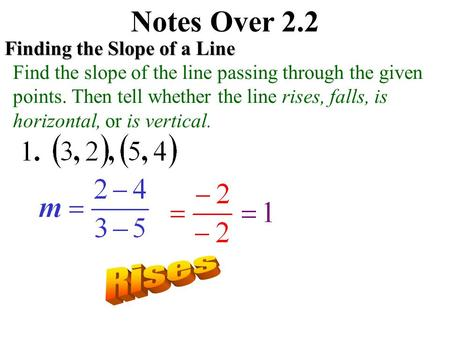 Notes Over 2.2 Rises Finding the Slope of a Line