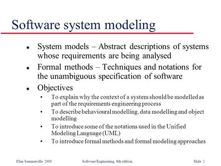 Software system modeling