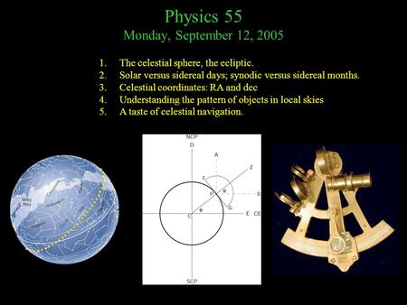 Physics 55 Monday, September 12, 2005 1.The celestial sphere, the ecliptic. 2.Solar versus sidereal days; synodic versus sidereal months. 3.Celestial coordinates: