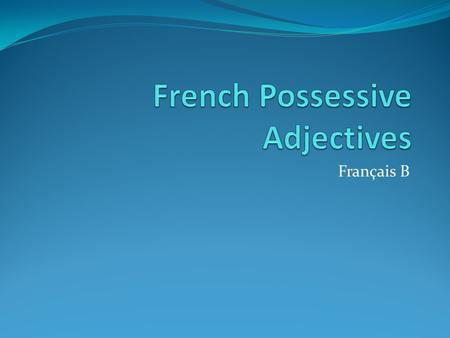Français B. my Singular mon for masculine words ma for feminine words, unless they start with a vowel (then use mon) Plural Mes for all plural words.