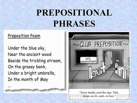 PREPOSITIONAL PHRASES. Let's Review: What is a PHRASE? A phrase is a group of words that acts as a single part of speech (like an adjective) that does.