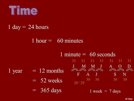 Time 1 day = 24 hours 1 hour = 60 minutes 1 minute = 60 seconds 1 year