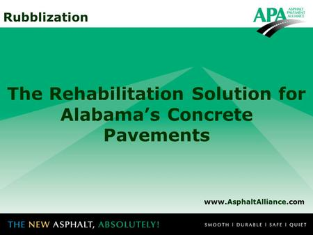 The Rehabilitation Solution for Alabama's Concrete Pavements