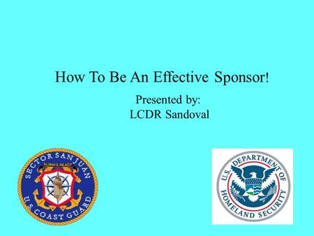 How To Be An Effective Sponsor ! Presented by: LCDR Sandoval.